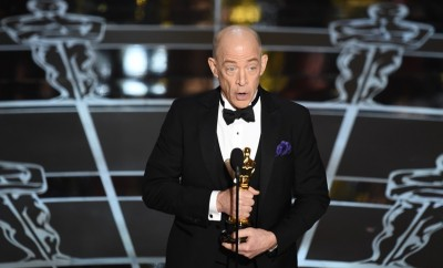 Winner for Best Supporting Actor J.K. Simmons gives his acceptance speech at the 87th Oscars February 22, 2015 in Hollywood, California. AFP PHOTO / Robyn BECK